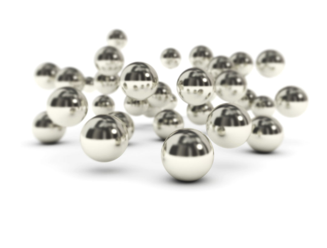 metal spheres center focus