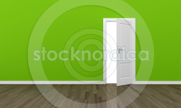 Open door large green wall and wooden floor