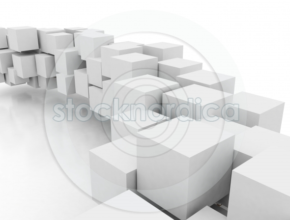 Abstract white 3d cubes connected