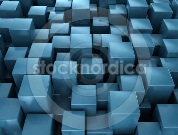 Abstract metallic blue cubes background