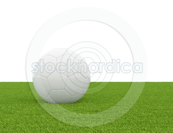Soccer ball on grass field isolated