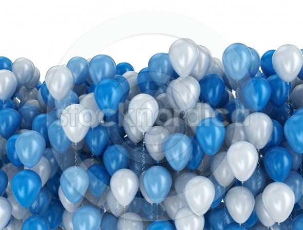 Party balloons white blue background