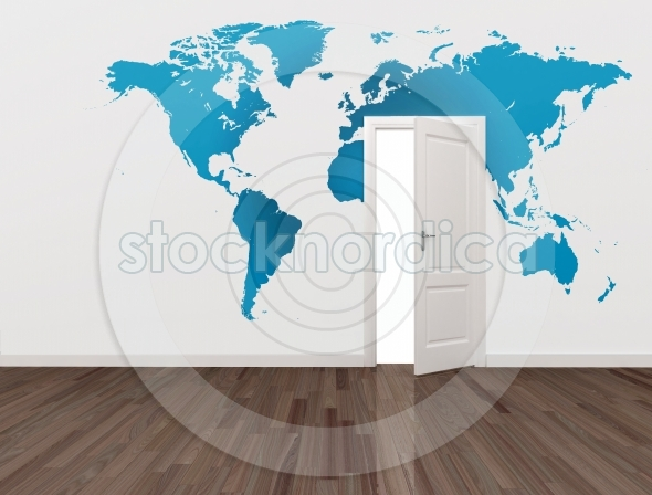 world map on wall with open door