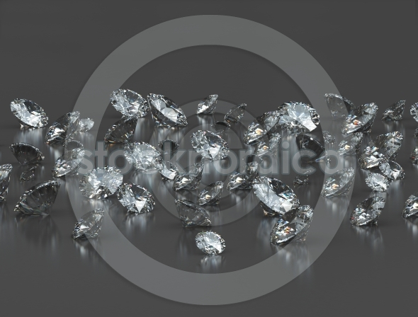 Large group of clear diamonds