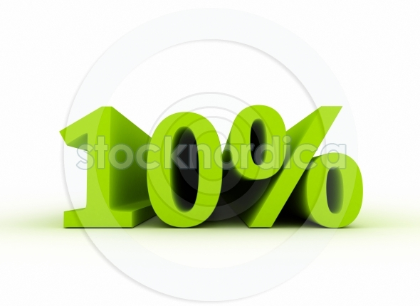 10 percent sales sign 3d text