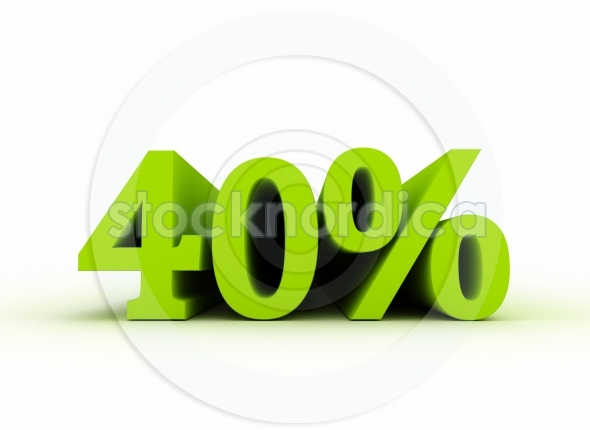 40 percent sales sign 3d text