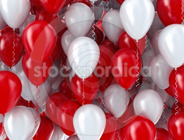 Red and white celebration balloons