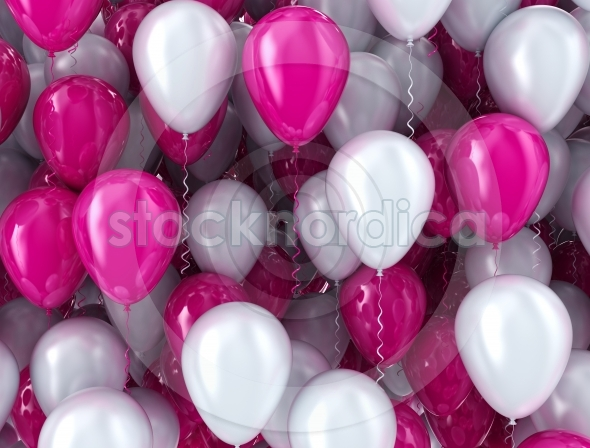Balloons pink and white celebration background