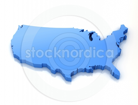 3D blue Map of united states of America
