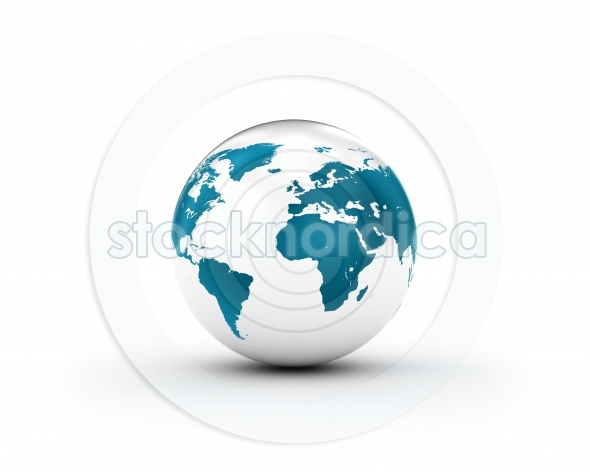 Shiny White and blue world globe