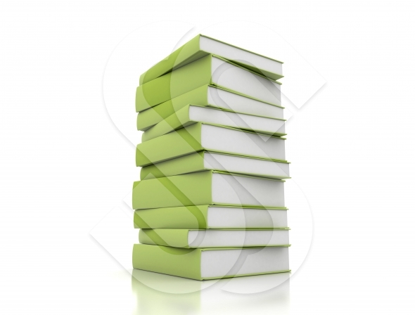 Green books on white background