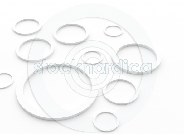 white rings with shadows on the white background