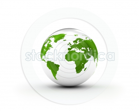 Green earth globe on white background