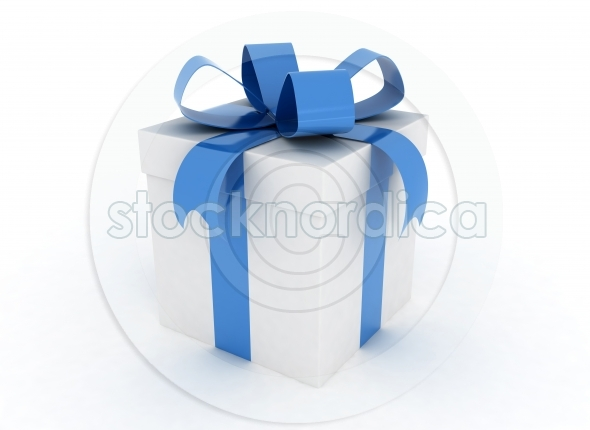 Single gift box blue ribbon
