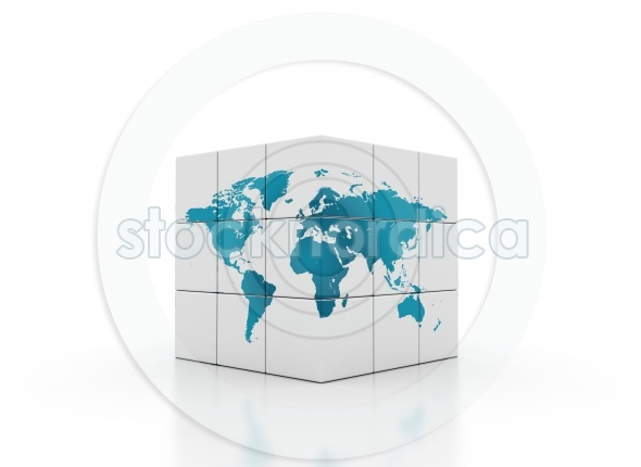 Cubes world map global network concept