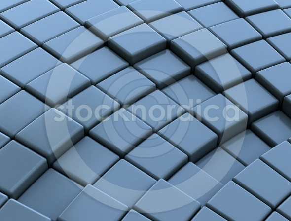 Abstract 3d blue glossy cubes background
