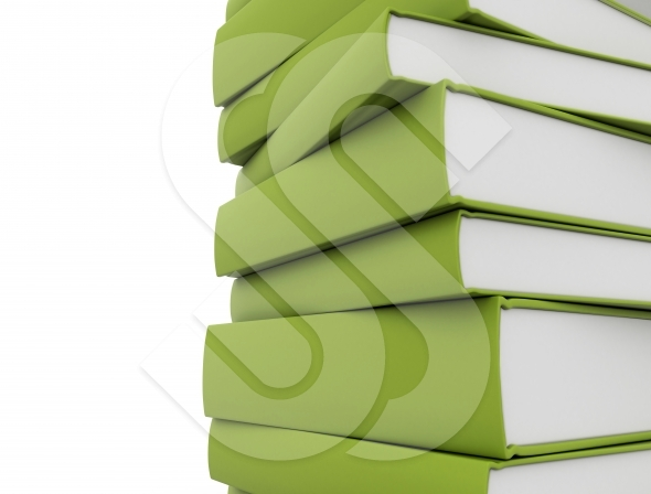 Green books close up