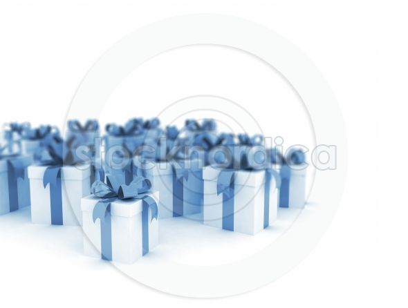 Blue gift boxes over white background