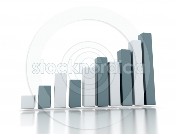 Business growth 3D rising graph on white