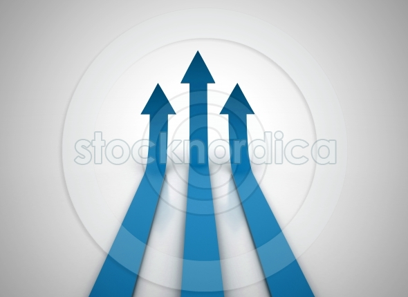 Three blue arrows going up – success illustration