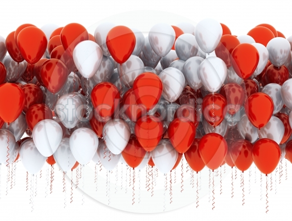 Balloons red and white celebration background