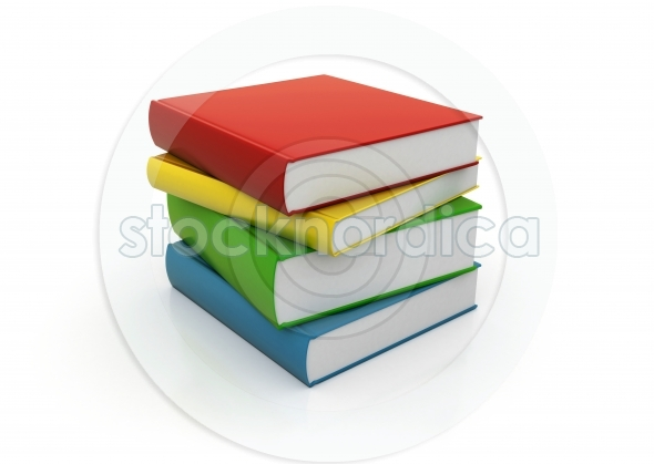 Four colorful books stacked on white background