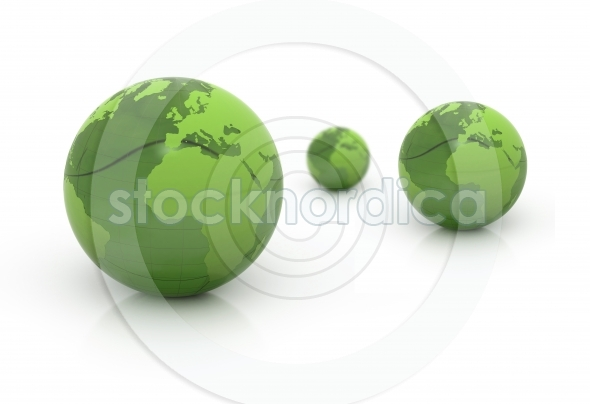 World globes green 3d illustration