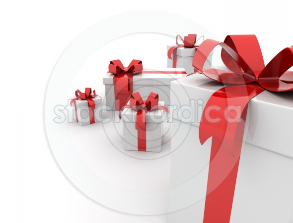 Red ribbon presents with copy space