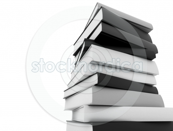 Books black and white stacked white background