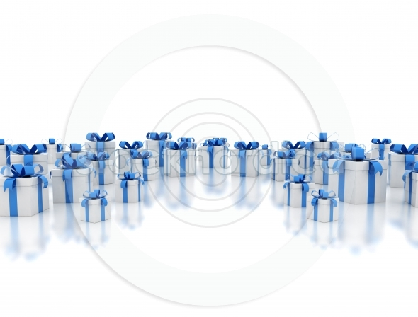 Many white gift boxes with blue ribbons