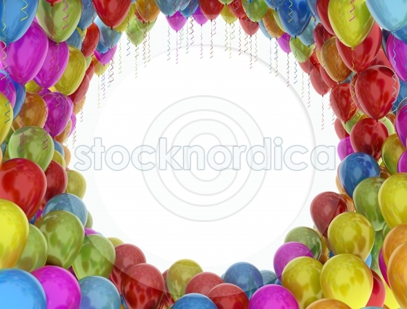 Colorful birthday party balloons isolated on white