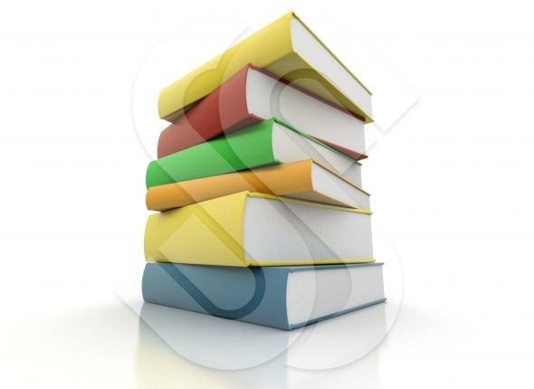 Books stacked on white background