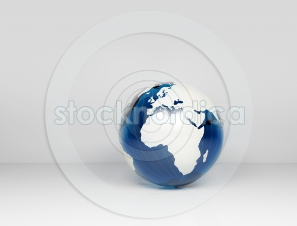 3d world globe blue with white map