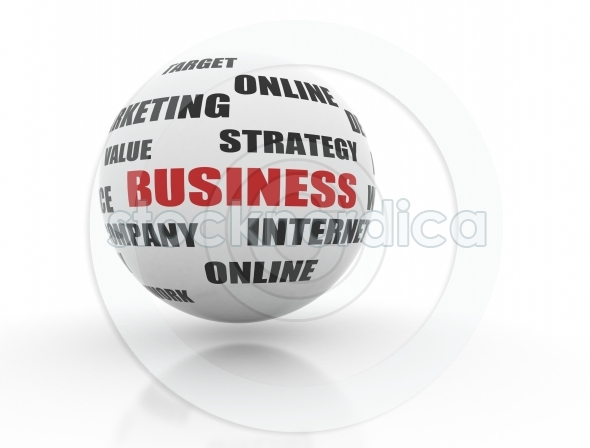 Ball with business related words on a white