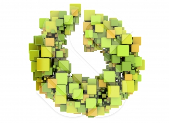 Abstract 3d cubes green and orange
