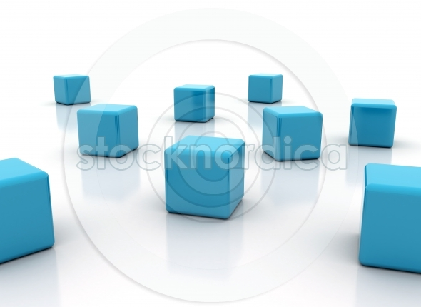 Blue cubes on white background