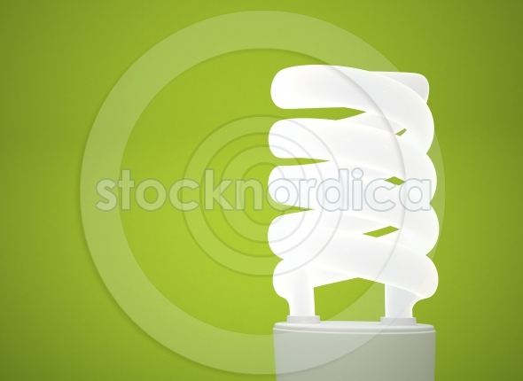 Energy saving light bulb green background