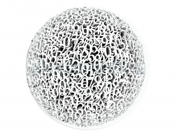 3D Sphere Made Of Numbers