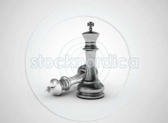 Chess king standing one down