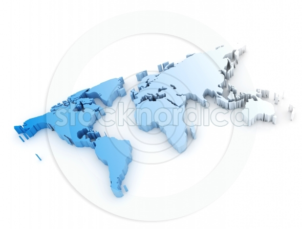 World map gradient blue white