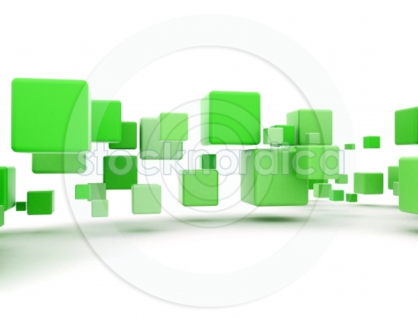 Green 3d boxes on white  background