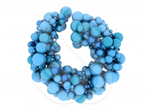 Abstract  shape made of blue 3d spheres