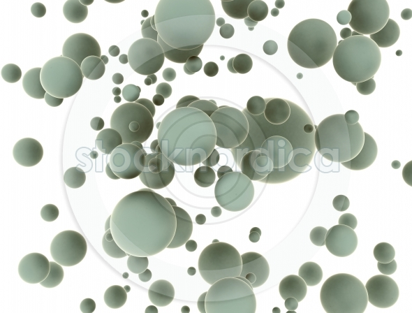 Abstract floating 3d balls on white background