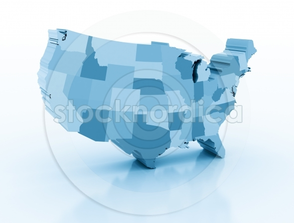 United States Of America Blue 3D Map