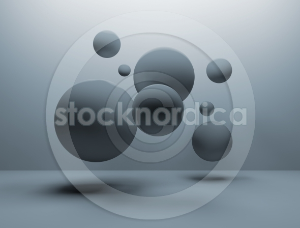 Abstract floating 3d spheres