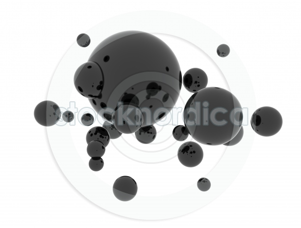 Oil 3d abstract black spheres