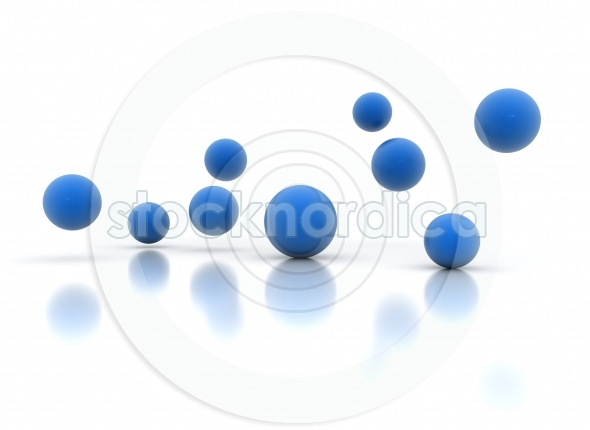 Falling blue 3d balls on a white background