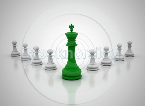 Leadership green chess king in front