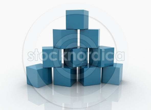 A pyramid made up of blue glossy cubes