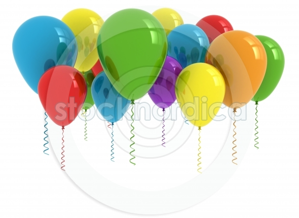 Colourful party balloons 3D rendering